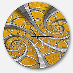 Designart Time Spiral in Antique Style' Oversized Contemporary Metal Clock, Circle Wall Decoration Art, 38x38 Inches, Silver