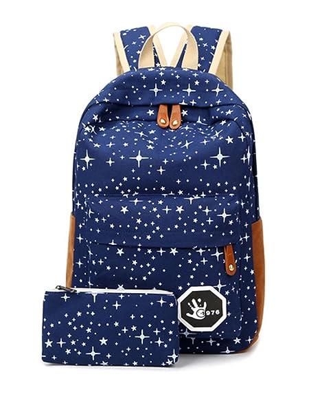 Minetom Lona Backpack Mochilas Escolares Mochila Escolar Casual Bolsa Viaje Moda Salpicado De Estrellas 2 Piezas Embrague Azul One Size(28*13*42 Cm): ...