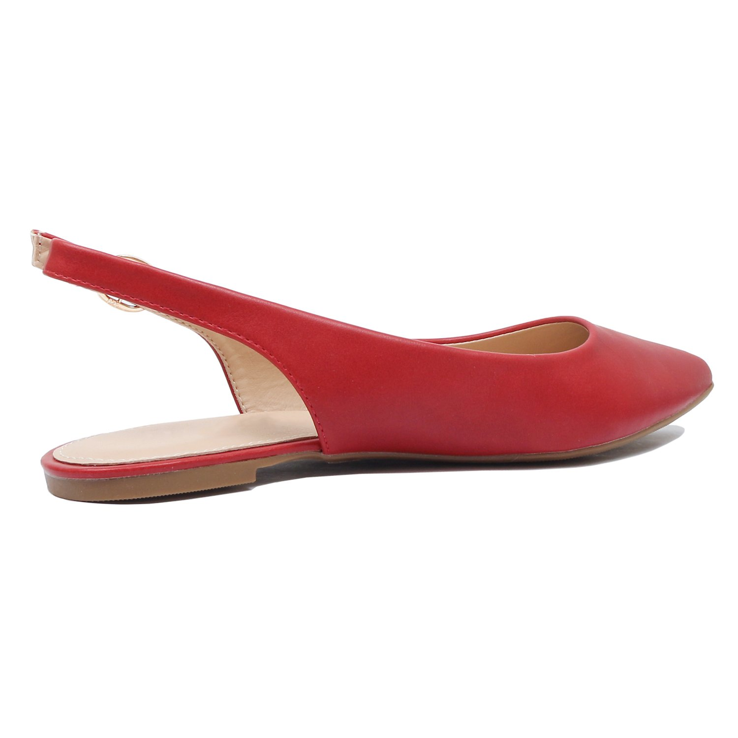 Guilty Heart - Womens Pointy Toe Slingback Buckle Comfortable Casual Dressy Flats (8.5 B(M) US, Red Pu) by Guilty Heart (Image #5)