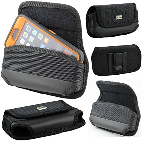 Samsung Galaxy Note 4, Note 3, iPhone 6 Plus Universal Horizontal Pouch Double Loop Hole Belt Clip Case Flip Magnetic Closure Durable Heavy Duty Vinyl Outside And Soft Cotton Velvet Inside Holster Clip Pouch Carrying Sleeve Holder Pouch Fits With Otterbox Commuter Case Series and Symmetry Cover On Apple iPhone 6 Plus, Samsung Galaxy Note 4, Note 3,...