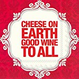 Ideal Home Range 40 Count 3-Ply Paper Cocktail Napkins, Christmas Holiday Collection (Cheese on Earth by Naughty Betty)