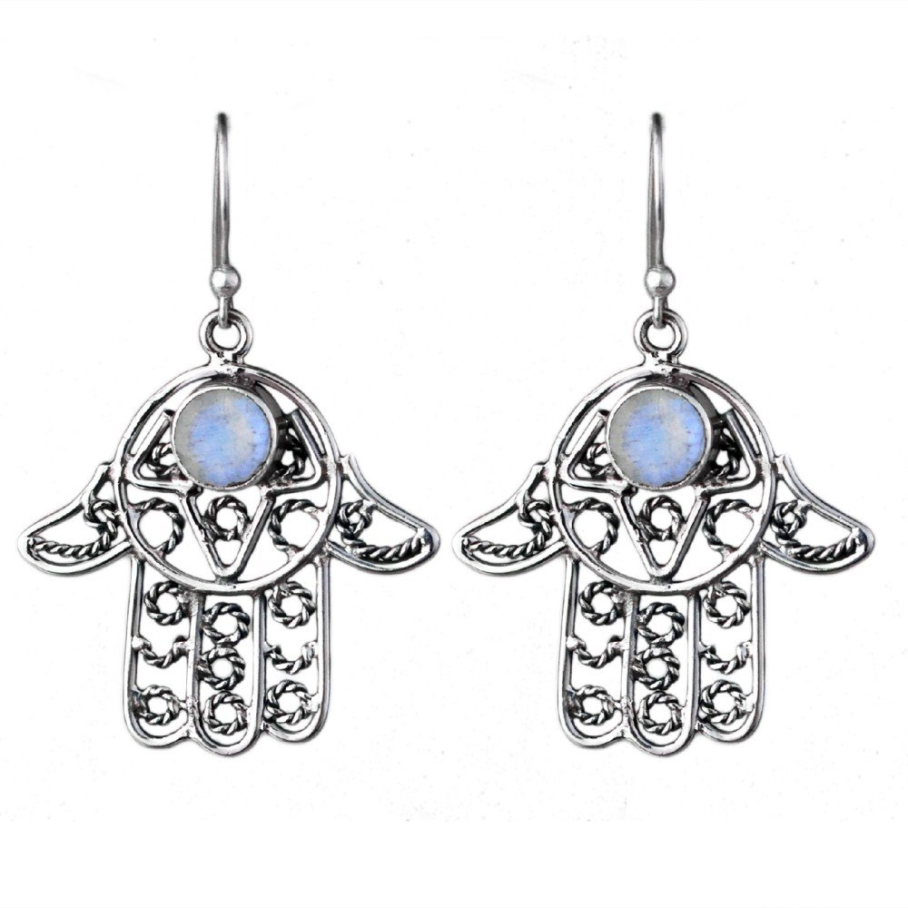 Crystalcraftindia Fashion /& classy earrings design for girls and women by Rainbow moonstone gemstone 925 Sterling Silver hamsa earrings 4.72 g