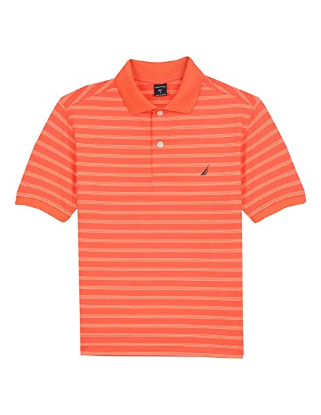 28334c4bbb0237 Nautica Boys' Big Short Sleeve Striped Performance Polo Shirt, Shore  Orange, Small (
