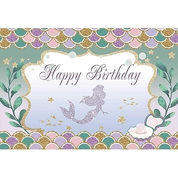 Cassisy 2,2x1,5m Vinilo Cumpleaños Telon de Fondo Feliz CUMPLEAÑOS Bandera Sirena Marco de la Foto Burbuja Pastel Fondos para Fotografia Party ...