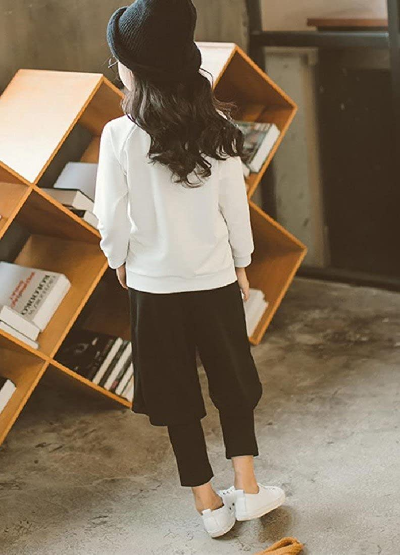 CuteRose Girl Fine Cotton Fashionable 2-Piece Leggings Top and Pant Set