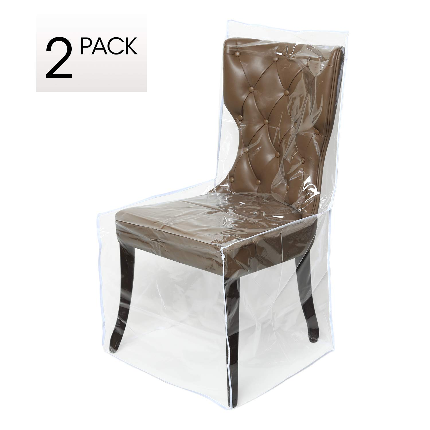 Zipcase 2 Packs All Cover in Plastic Dinning Chair Covers - Heavy Duty Clear Chair Protectors Keep Your Dinning Chair Away from Water Dust Paws and Claws