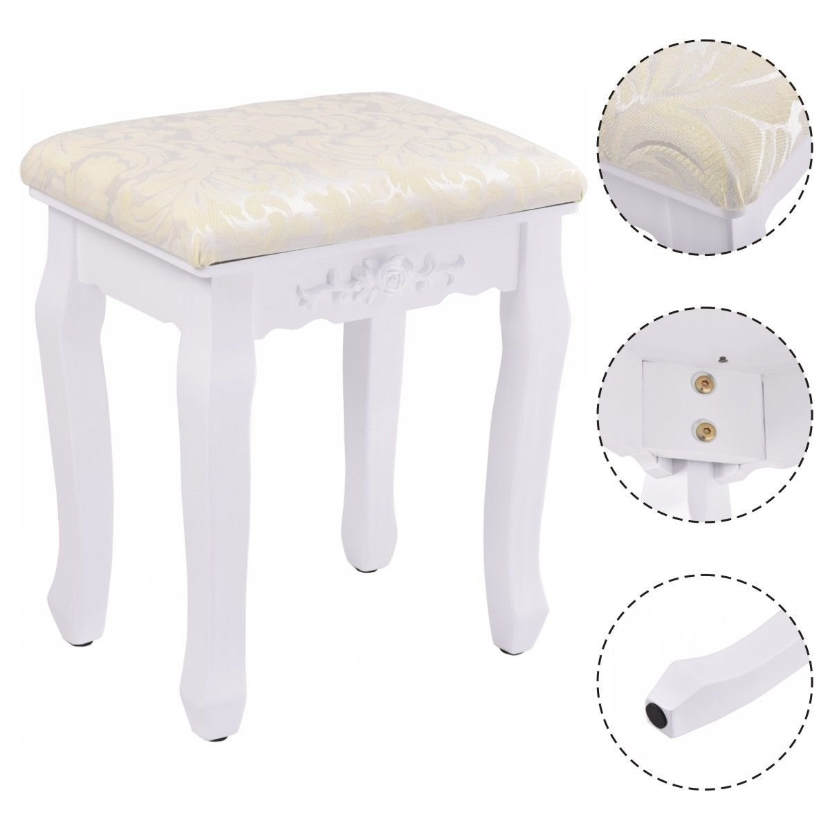 New MTN-G White Retro Wave Design Makeup Dressing Stool Pad Cushioned Chair Piano Seat