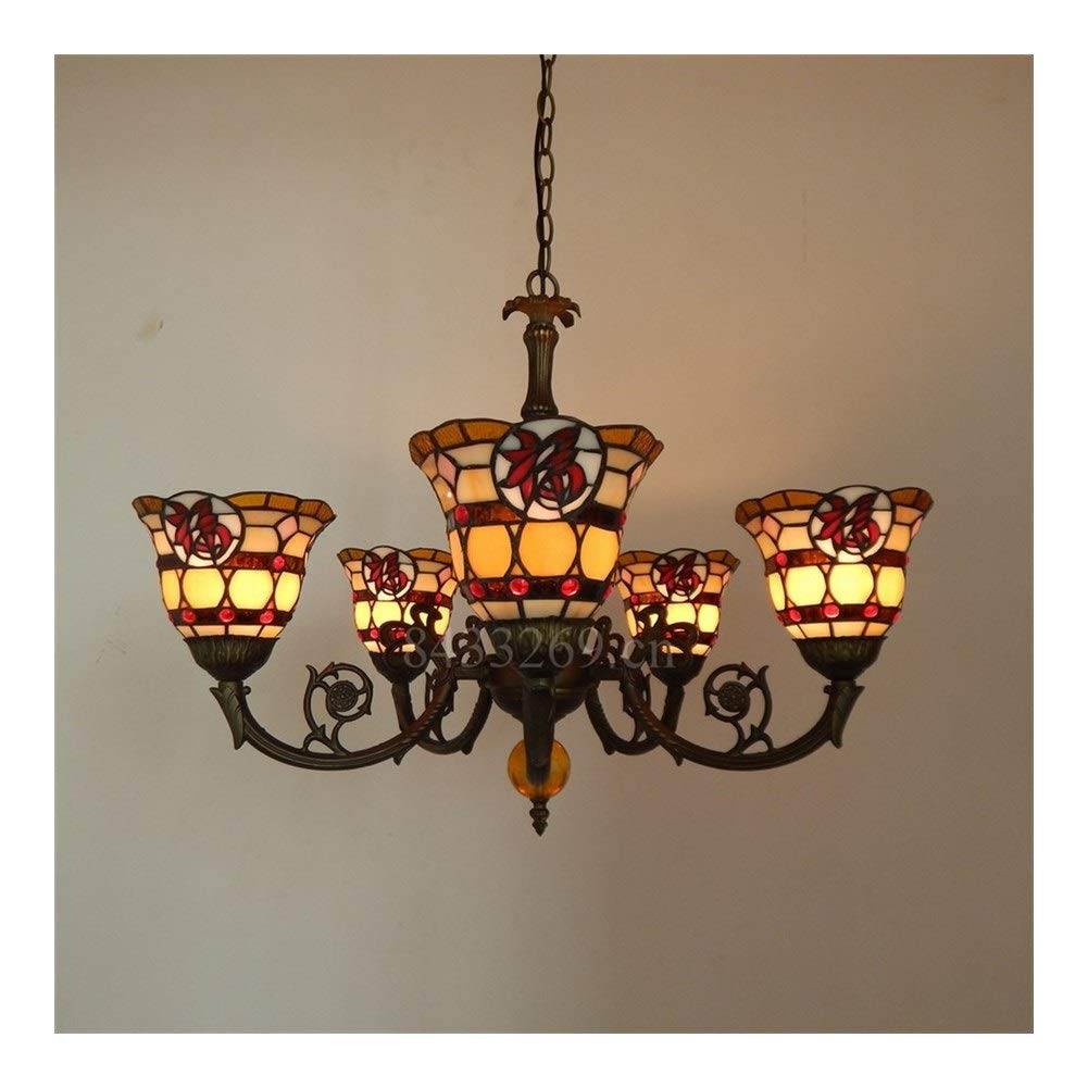 Soft Lighting 5 Arms Handmade Glass Pendant Chandelier,Drop-Light with Stained Glass for Home Decoration Handmade