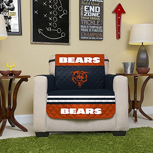 Great NFL Chicago Bears Chair Reversible Furniture Protector With Elastic Straps,  75 Inches By 65 Inches