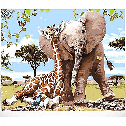 """MiDenso Paint by Numbers DIY Easy Funny Painting Kit for Kids Adults Beginner 16"""" by 20"""" Colorful Pattern with Gift Wrap Stocking Stuffer Christmas Birthday Gifts for Him Girls, Elephant Giraffe"""