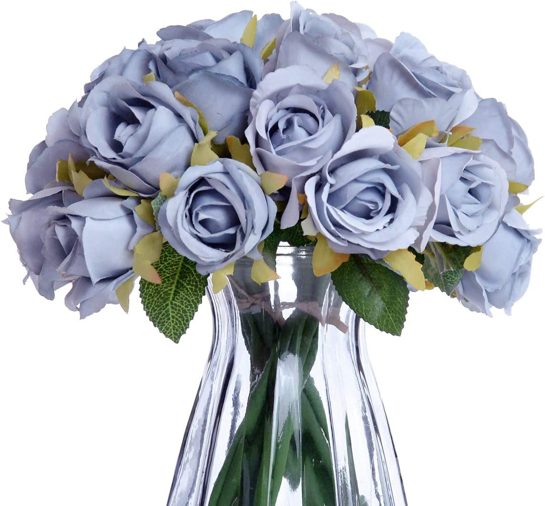 NYRZT Artificial Flowers, 24 Heads Silk Roses Bridal Wedding Bouquet Fake Flower Arrangements for Home Festival Birthday Party Decor (Light Blue)