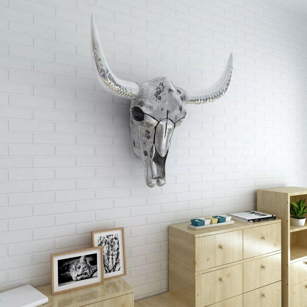 Tidyard- Wanddekoration Stierkopf Wandfigur Wohnzimmer Wand Dekoartikel Silbern Aluminium
