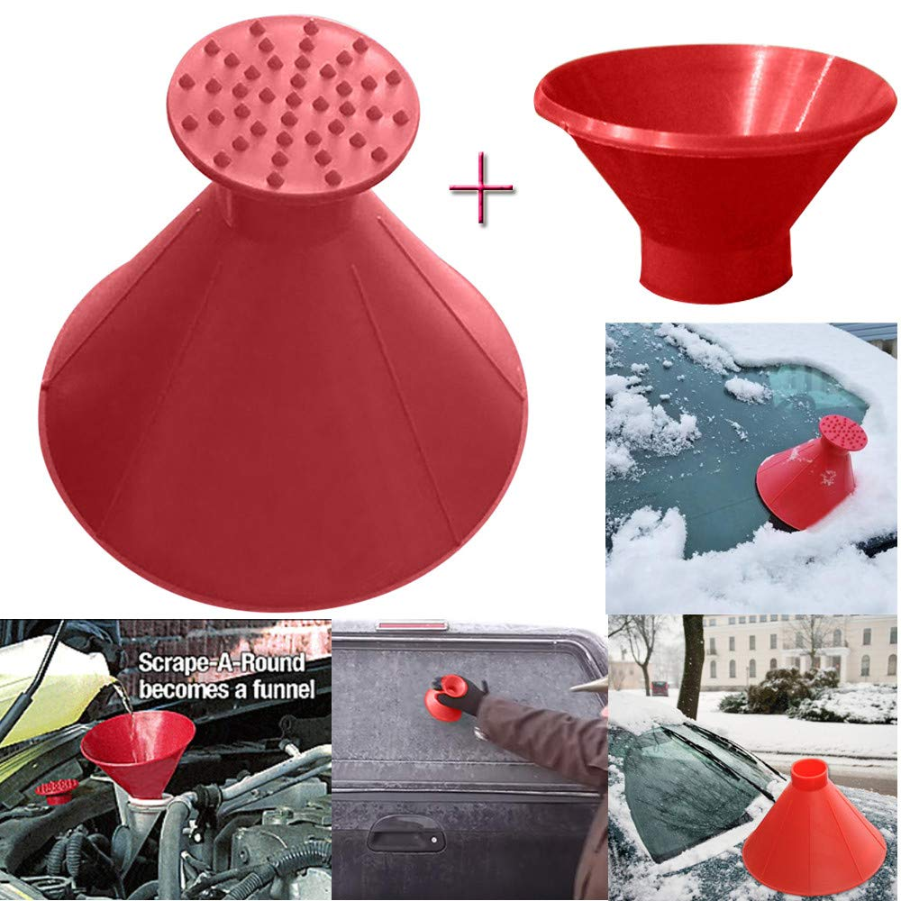 Iuhan  3Pcs/Set Windshield Ice Scraper, Windshield Snow Cover Ice Removal Wiper, Auto Snow Brush, Car Truck SUV, Scrape A Round Magic Cone-Shaped Windshield Ice Scraper Snow Shovel Tool (Black) Iuhan ®