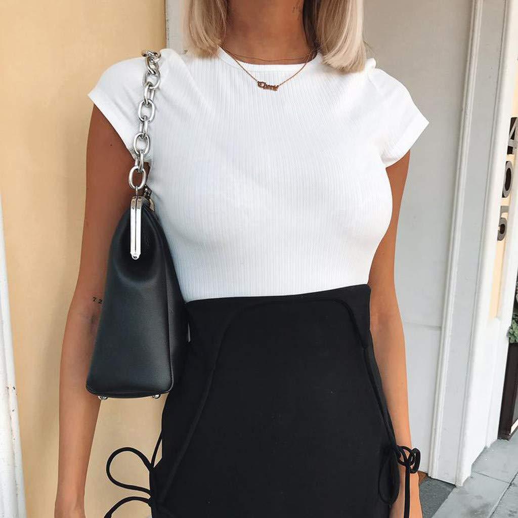 ecdaf7e481 Amazon.com  Uscharm Sleeveless Camis Womens Casual Solid Color Short Sleeve  Shirts O-Neck T-Shirt Sleeveless Tops  Clothing