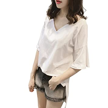 TAOtTAO - Blusa de Manga Corta para Mujer, Talla Grande, Blanco, Medium