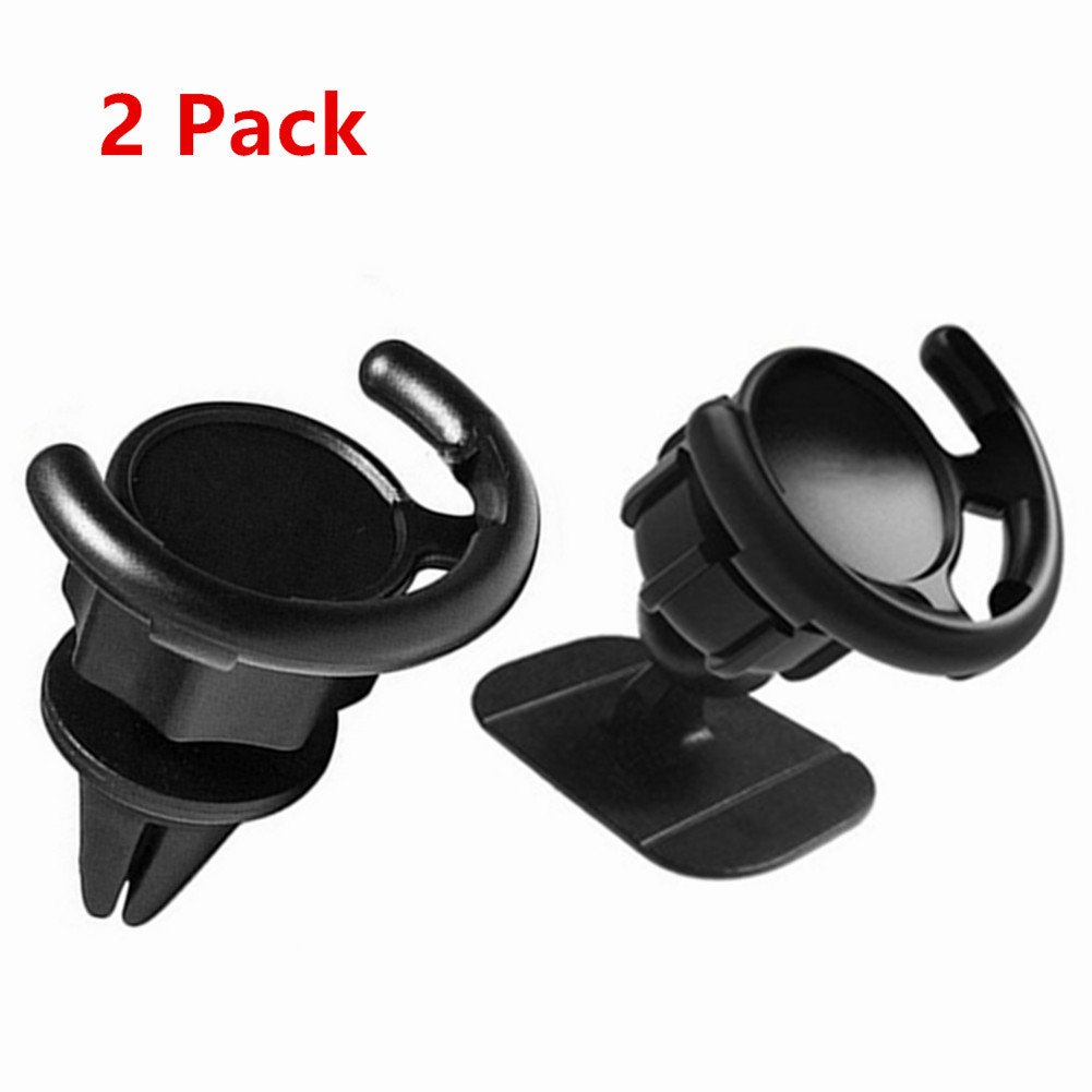 2Pack Car Mount Compatible with Pop Stand, 360 Rotation Dashboard Desk Wall Phone Mount Air Vent Car Mount Phone Holder Stand Compatible with Pop Stand and Grips for Cellphone (2 Pack Black) (Black) ELIKE