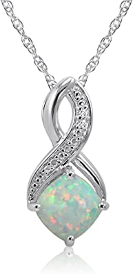 Sterling Silver Created Opal /& Diamond Pendant