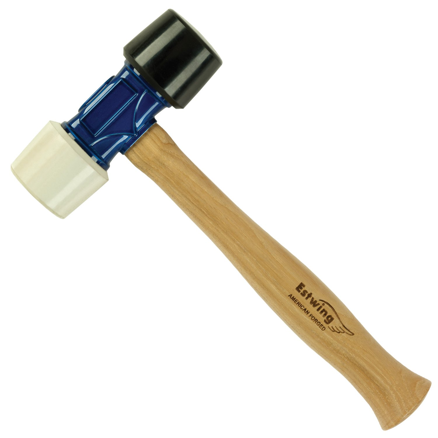 Estwing Rubber Mallet- 24 oz Double-Face Hammer with Soft/Hard Tips & Hickory Wood Handle - DFH24