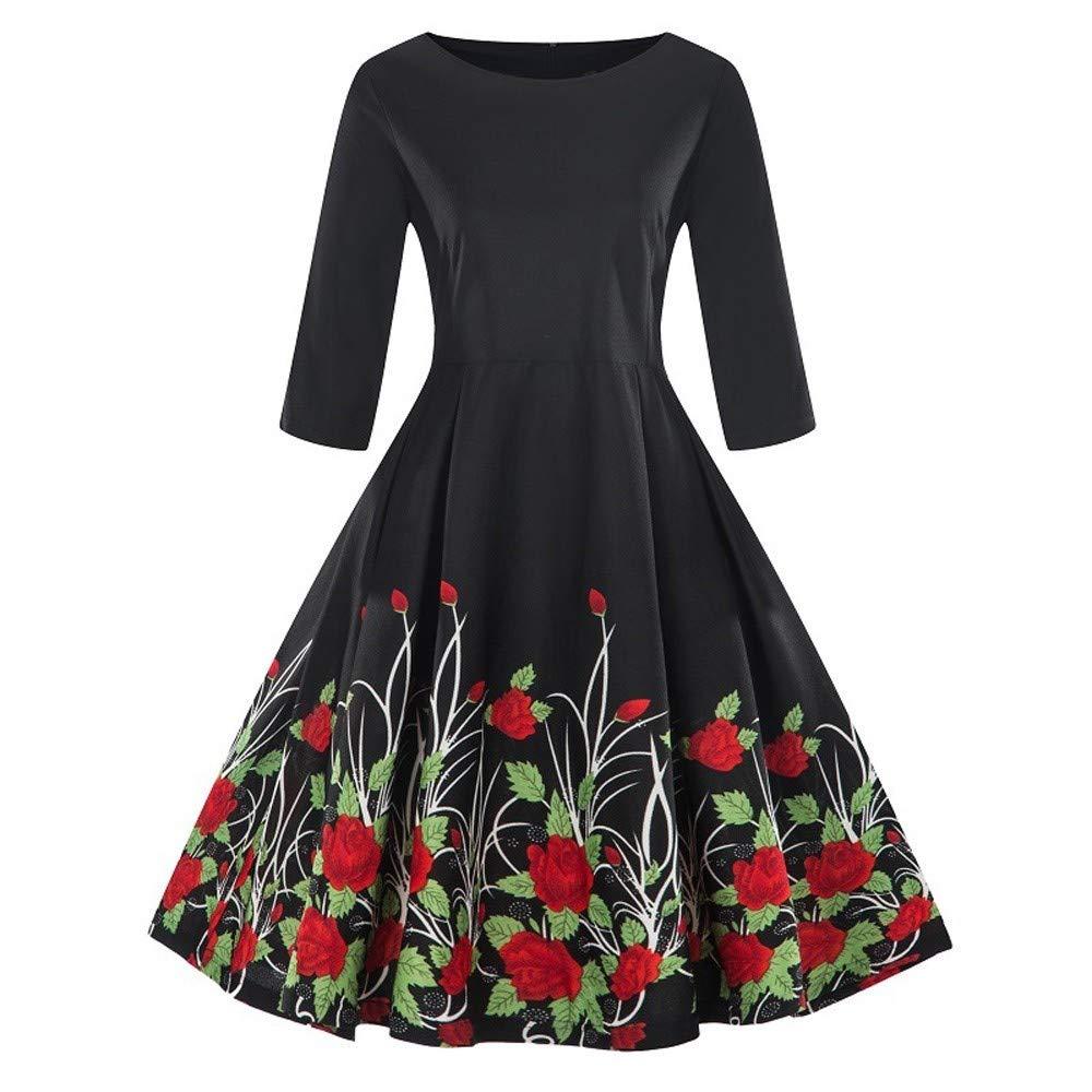 FIRSS Damen Blumenmuster Plus Größe 3/4 Ärmel Vintage Kleid Drucken Retro Swing Kleid Langarm Abendkleid Elegante Partykleid Cocktailkleid