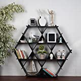 LaModaHome Cardboard Shelf 100% Corrugated Cardboard (45.3'' x 39.4'' x 6.7'') Beach Black Triangle Hexagon Decorative Living Room Storage Shelf Multi Purpose