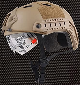 AIRSOFT PJ TYPE OPS CORE FAST BASE JUMP HELMET + VISOR TAN SAND DE ARC RAILS