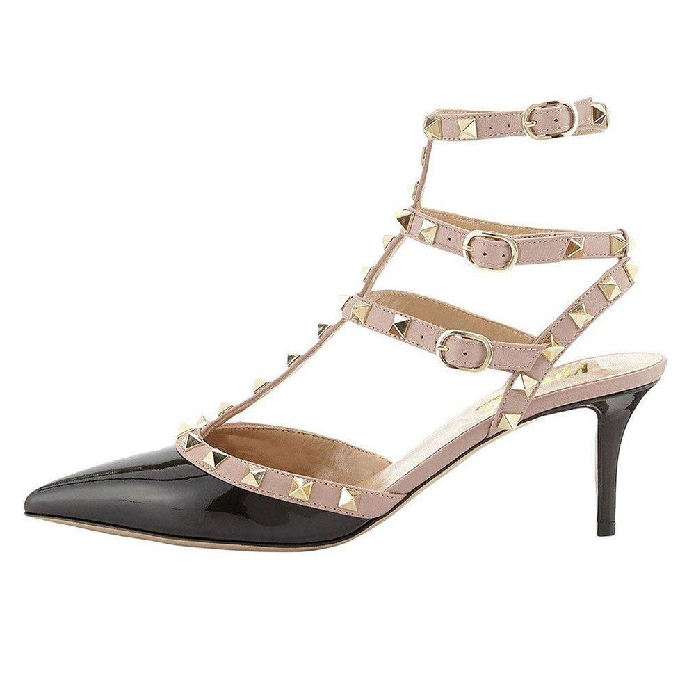 Black(patent) VOCOSI Women's Rivets Buckle Studded T-Strap Pointed-Toe Kitten Heels Fashion Sandals