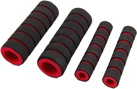 Rojo negro antideslizante de espuma para bicicleta manillar Puños ...