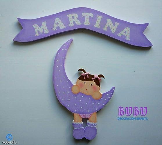 Placa infantil BUBU niña en luna con nombre: Amazon.es: Handmade