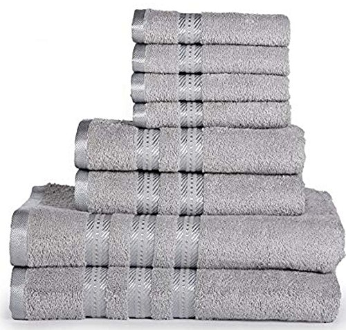 Casa Lino -100%Cotton, Fade Resistant, Highly Absorbent, 8 Piece towel set, 2 Bath towels, 2 Hand Towels, 4 Washcloths, Machine washable, Hotel quality, Soft absorbent Towel Gift Set -Diana collection