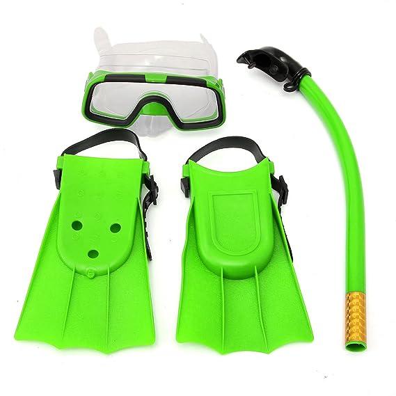 TENGGO Niños Junior Snorkel Buceo Set Máscara Gafas Aletas Buceo Natacion Buceo Niños Conjunto-Verde: Amazon.es: Hogar
