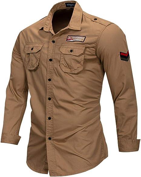 GXLO Camisa de Manga Larga, Camisas para Hombre Slim Fit, Camisa Formal Informal, con Bolsillo y Detalle de Bordado: Amazon.es: Deportes y aire libre