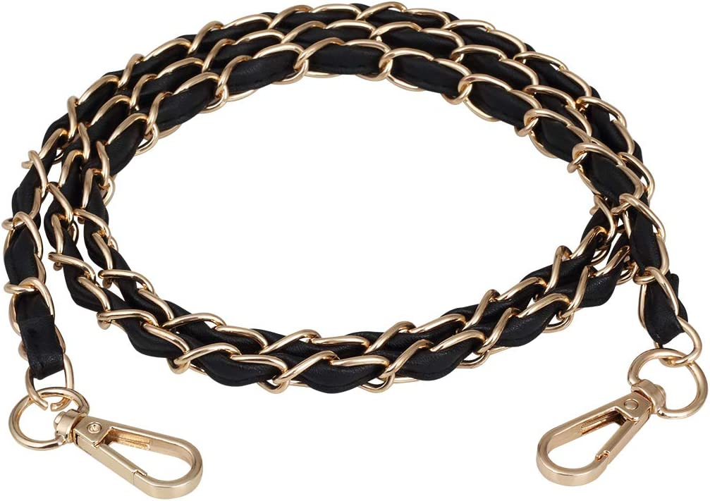 SUPXINJIA Purse Chain Strap with Leather Metal Chain Replacement for Shoulder,Crossbody Bag (Gold)