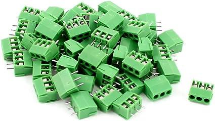 20Pcs AC 300V 10A 3P 5mm Pitch Screw Type PCB Terminal Blocks Connector Green