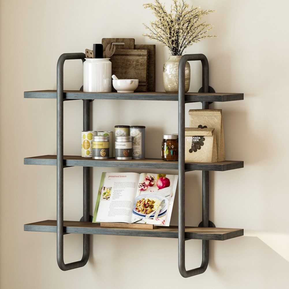LITTLE TREE Industrial 3-Tier Pipe Wall Shelf, Double Support Wall Mount Pipe Shelf Storage Shelving Bookshelf, Wood and Metal