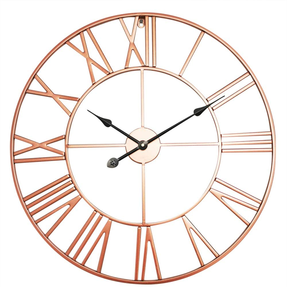 Antic by Casa Chic – Gran Reloj de Pared Metálico con Mecanismo Quartz - 76 cm Diámetro – Números Romános – Acero - Oro Rosa