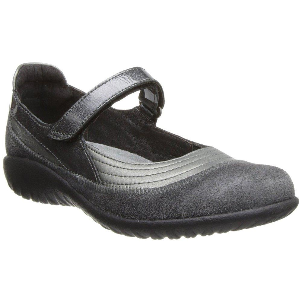 NAOT Footwear Women's Kirei Mary Jane Flat B01MG3NGC1 41 M EU|Sterling/Gray Suede/Gray Pat.