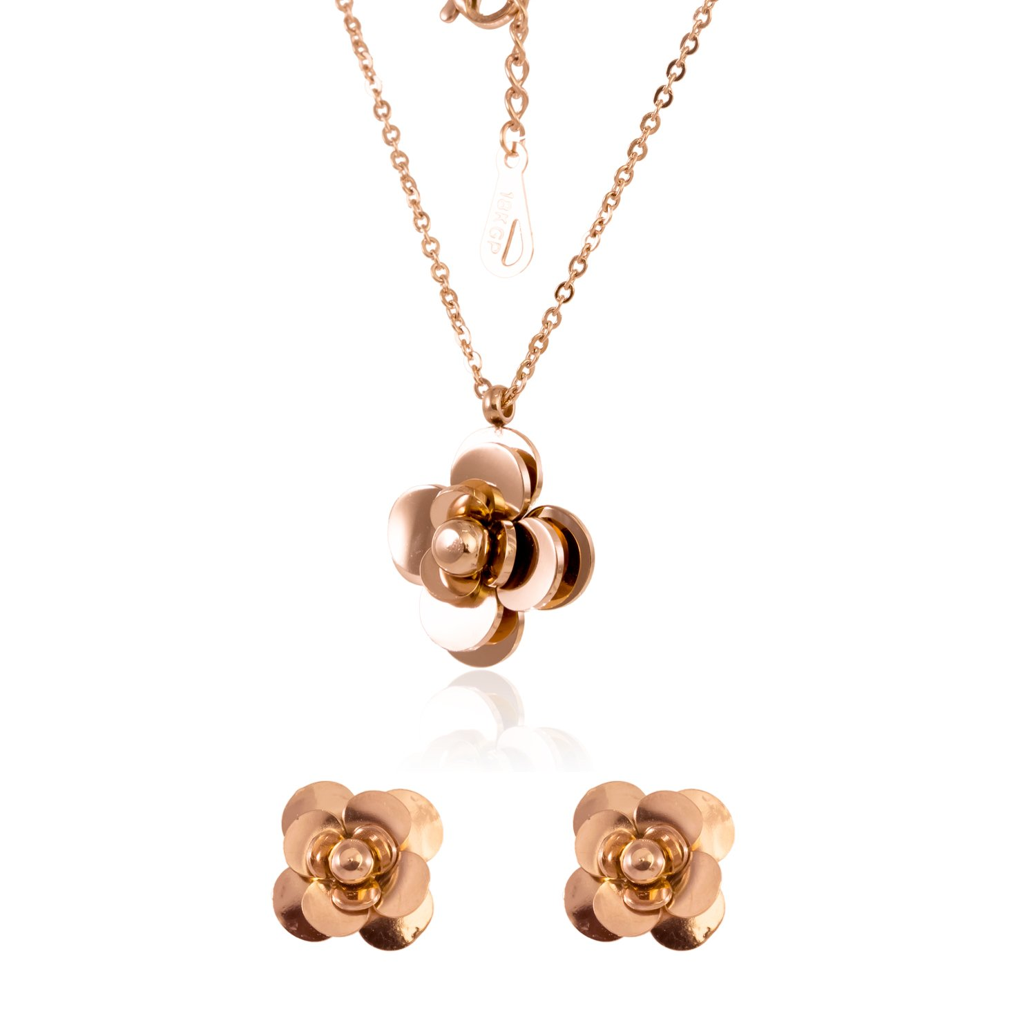 ISAACSONG.DESIGN Stainless Steel Inspirational Statement Charm Pendant Necklace and Earring Jewelry Set for Women and Girl (Love Camellia Flower Set)