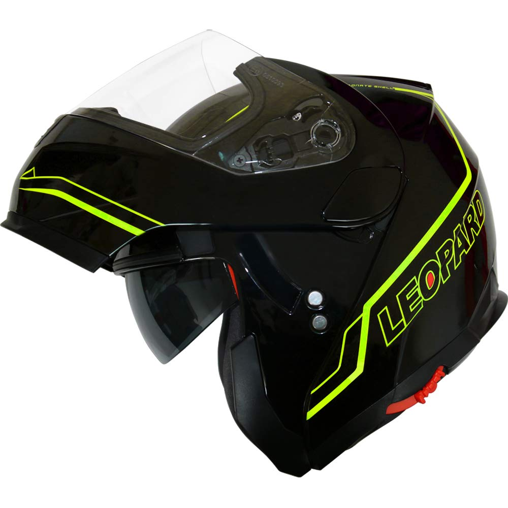 Leopard DVS Double Visor Modular Flip up front Motorcycle Motorbike Scooter Helmet Matt Black//Yellow S 55-56cm