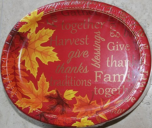 Thanksgiving Autumn Leaves Oval Paper Plates (Large) - 10