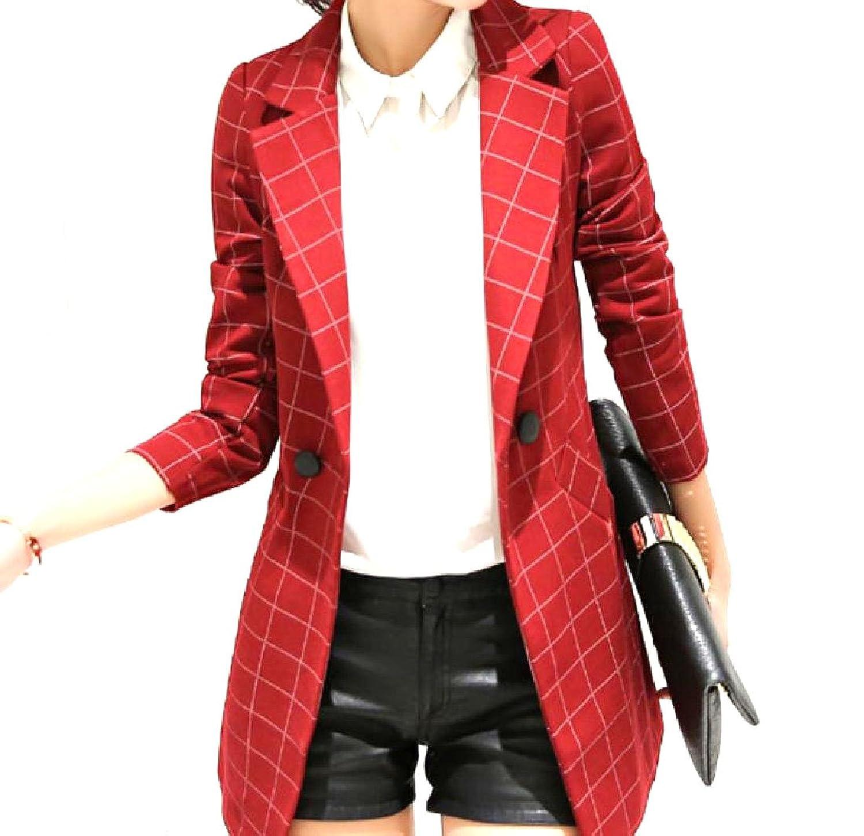 Abetteric Women Vogue Slim Tailoring Checkered Windproof Blazer Jacket
