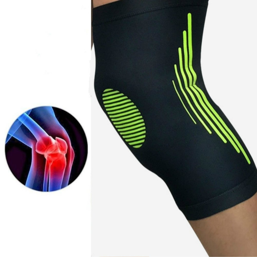 Knee Pads-Knee Support Brace Super Elastic Breathable Knee Compression Sleeve Anti Slip Knee Pads Joint Pain Relief Single Wrap (XL(Black&Green)