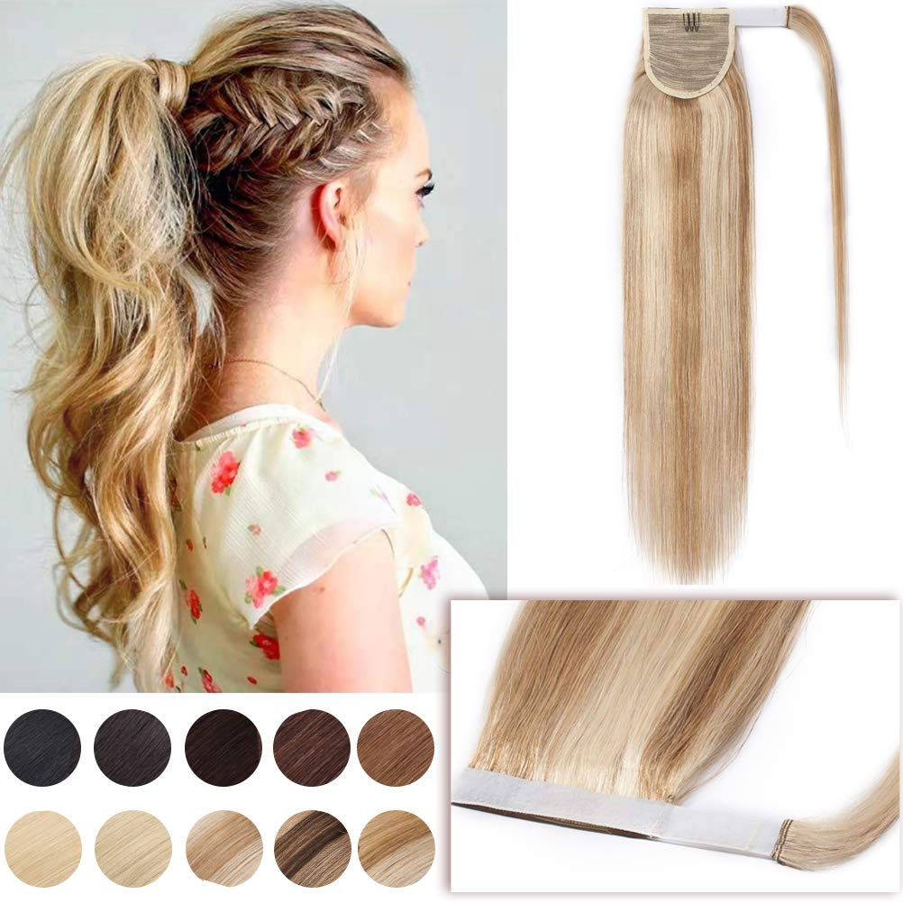 20 Inch Wrap Around Ponytail Extensions Remy Human Hair Highlighted Magic Paste Wrap Pony Tail Hairpiece for Women One Piece #18/613 Ash Blonde Mix Bleach Blonde by Hairro