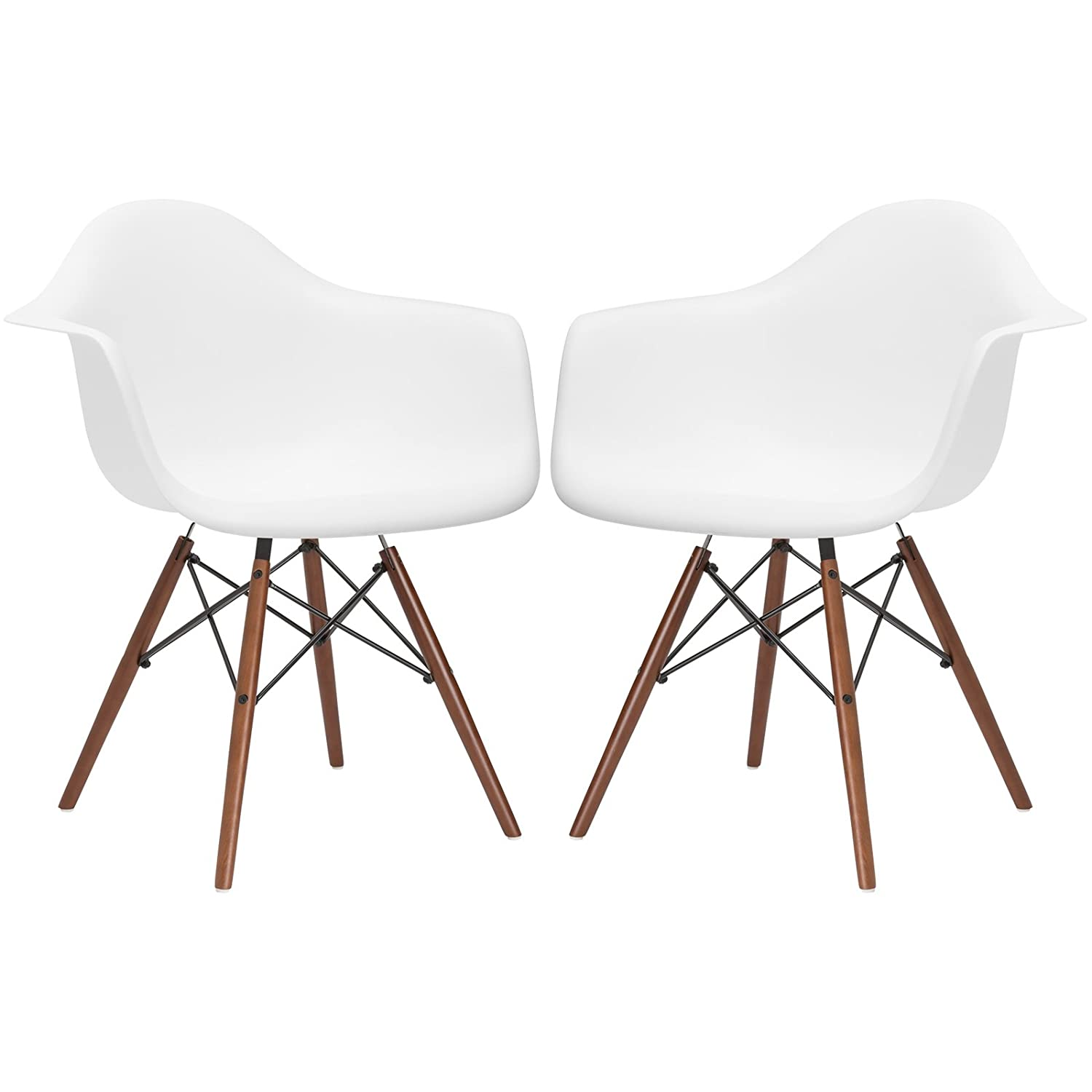 Poly and Bark Vortex Arm Chair Walnut Leg, White, Set of 2