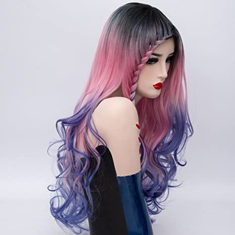 Amazon.com: Alacos New Style Synthetic Full Head Rainbow Color Long Curly Braid Wigs for Women Harajuku Lolita Wigs +Wig Cap (Black/Rose Red/Blue Ombre): ...