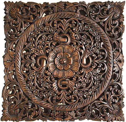 Carved Wood Wall Art- Oriental Carved Lotus Wood Plaque 24