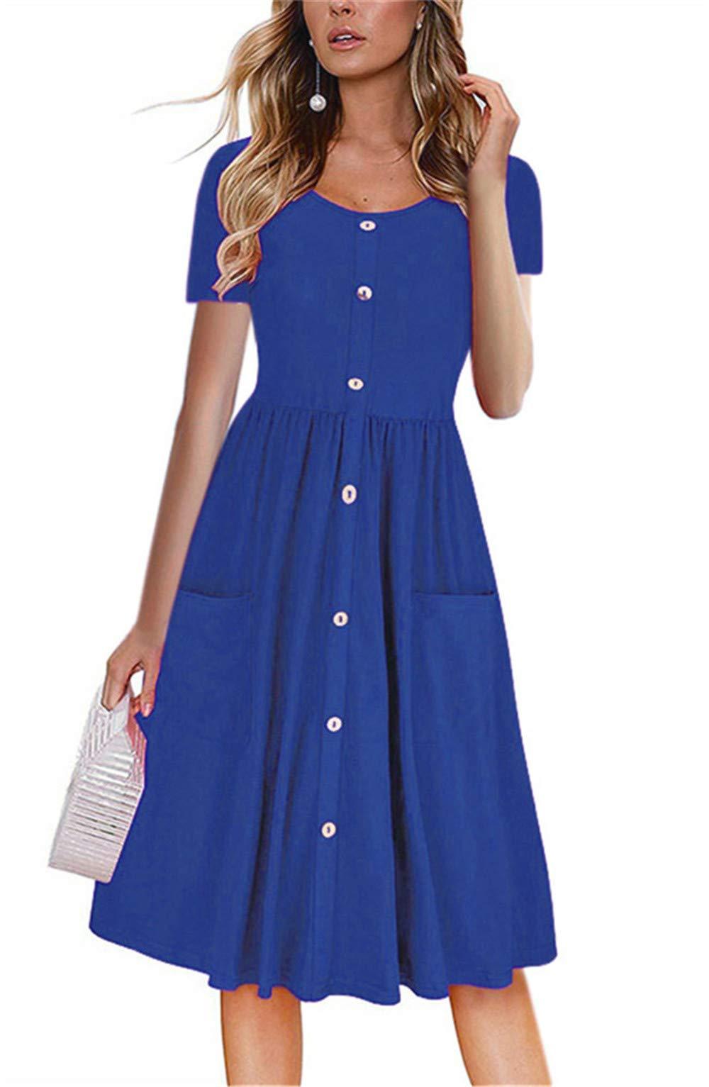 LAMISSCHE Womens Summer Casual Short Sleeve V Neck Button Down A-line Dress with Pockets(Bright Blue,3XL) by LAMISSCHE
