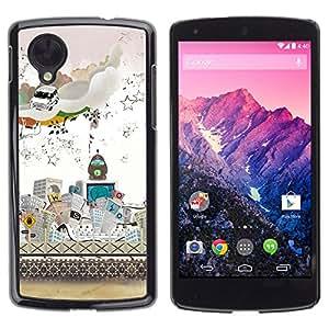 Competir En La Ciudad Moderna - Metal de aluminio y de plástico duro Caja del teléfono - Negro - LG Nexus 5 D820 D821