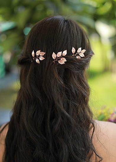 Amazoncom Missgrace Bridal Rose Gold Hair Pins Women Crystal