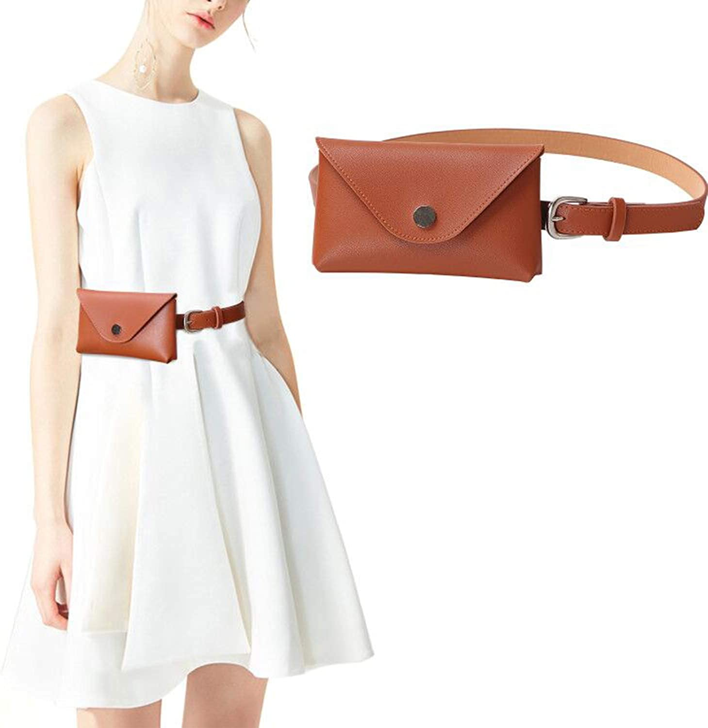 pink Womens Leather Belt Fanny Pack With Removable Belt Tassel Waist Pouch Fashion Belt Bags