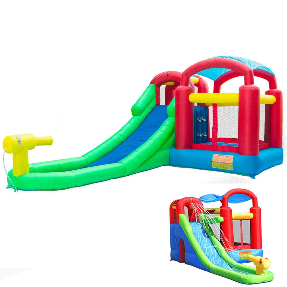 Backyard Kids Toys Children Play Large Inflatable Bounce House Water Slide Bouncer Jumper Climbing Pool Jumper Castle Bouncy Playhouse Easy Quick Blow Up Safety Fire-Resistant Heavy Duty 420D Oxford